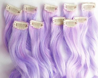100% Human Hair Extensions : Lavender Lilac Clip In Hair Extensions, Purple Hair Extensions, Ombre Hair, Pastel Hair Extensions