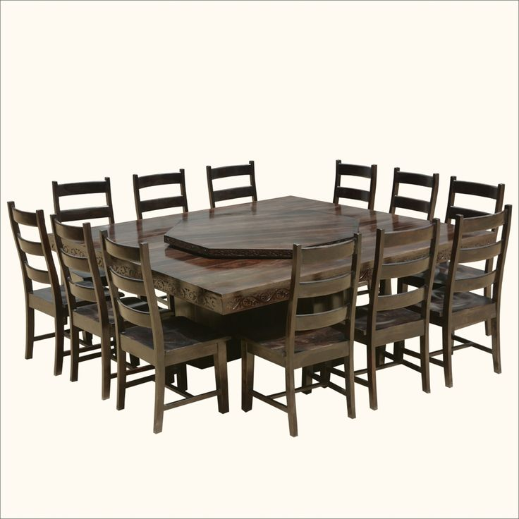 Dining Room Table That Seats 12: Modern Pioneer Solid Wood Lazy Susan Pedestal Dining Table