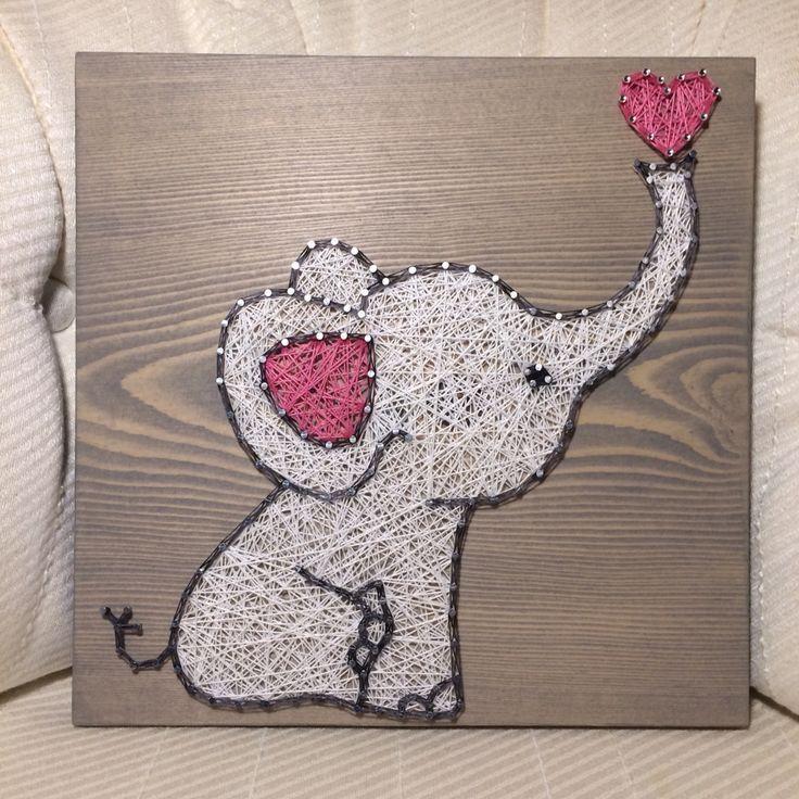 Elephant/Love String Art, Baby, Nursery Art- order from KiwiStrings on Etsy! http://www.KiwiStrings.etsy.com