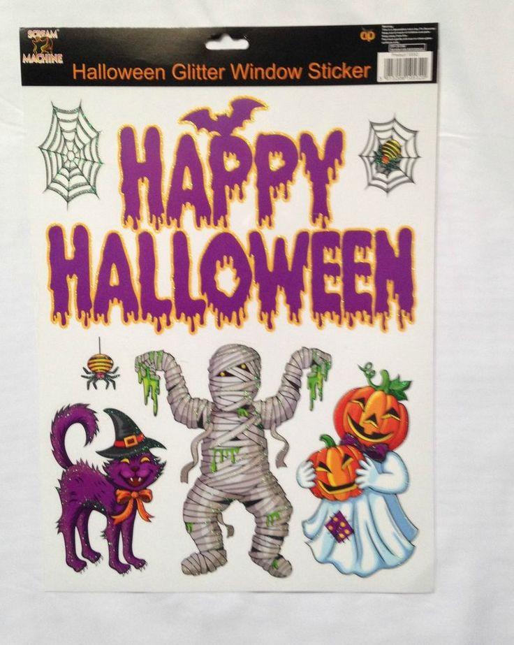 Happy Halloween Glitter Window Stickers