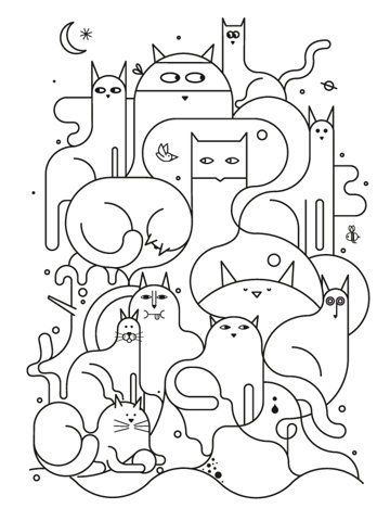 cat line drawing  possible pattern for a cat quilt?
