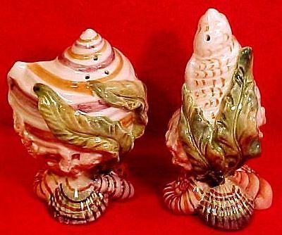 Fabulous Vintage Fitz Floyd Majolica Sea Shell Salt Pepper Shakers FM792   eBay