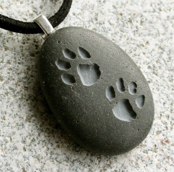 Puppy Pawprints Necklace - Engraved custom necklace - Double Sided Engraved beach pebble pendants - Tiny PebbleGlyph (C) by sjEngraving
