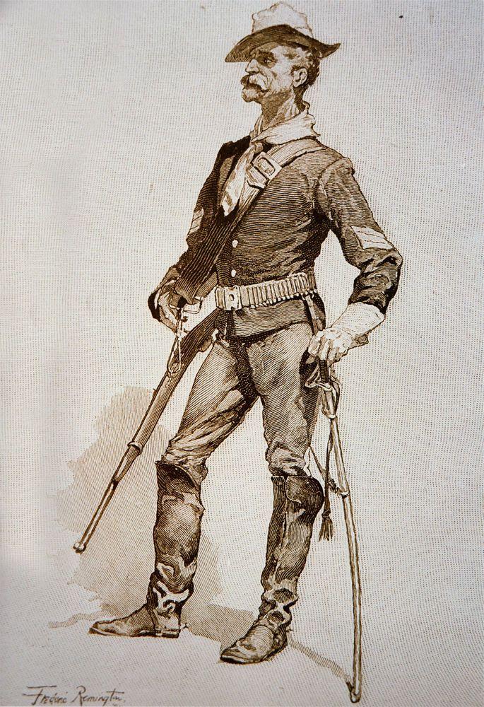 "Frederic Remington, 1890 Drawing, Sergeant of U.S Cavalry, 20""x14"" CANVAS ART"