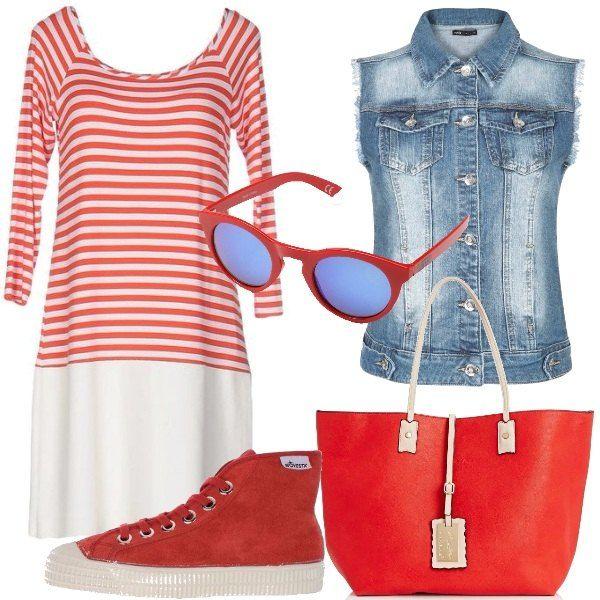 Quest'outfit è perfetto, in particolare per chi ama il colore e uno stile spiritoso e divertente. L'abitino con parte superiore a righe rosse e bianche e gonna bianca è semplice e comodo, ho scelto di abbinarlo ad uno smanicato in jeans chiaro. Le scarpe sono delle sneakers alte rosse come la borsa modello shopping. Ultimo tocco, occhiali da sole con montatura rossa.
