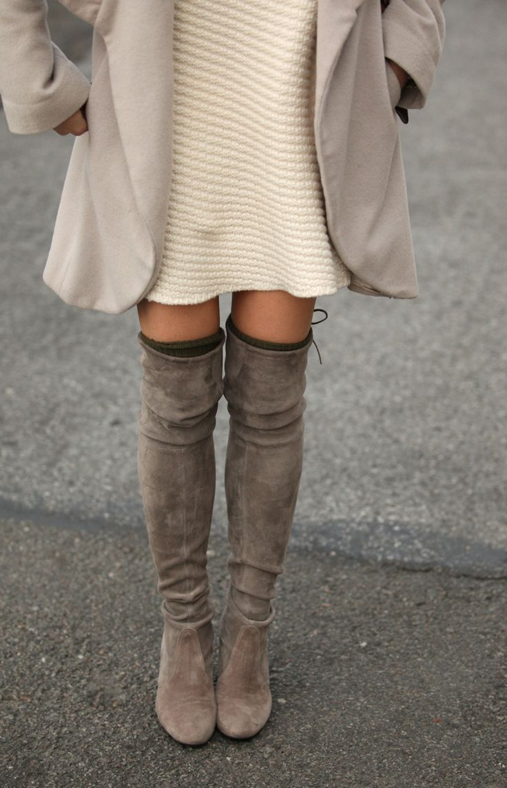 Outfit ideas: over the knee boots for cosy and stylish casual look #nothingtowear