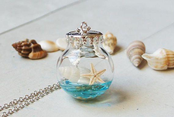 Seashells necklace Beach Jewelry Glass Bottle jewelry