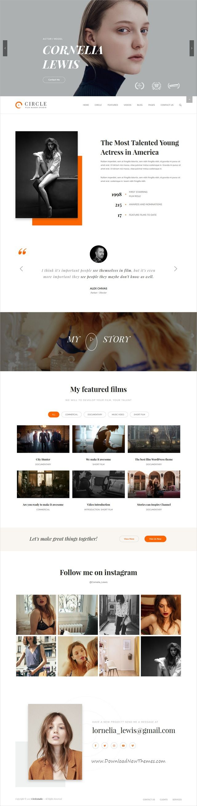 Circle is clean and modern design 7in1 responsive #WordPress theme for multipurpose film, #models Video and movie production companies website download now #webdesign