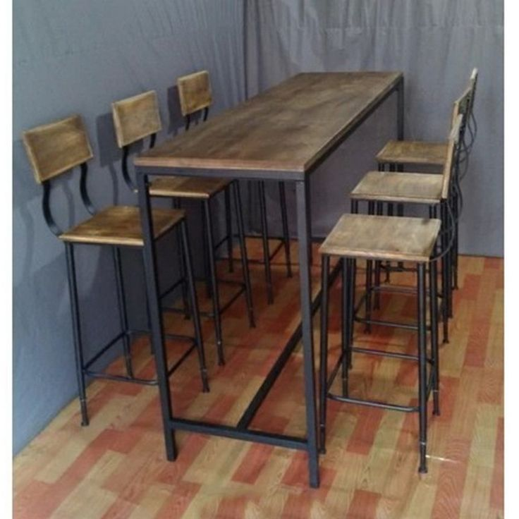 metal and wood tall bar table for 6 - Google Search