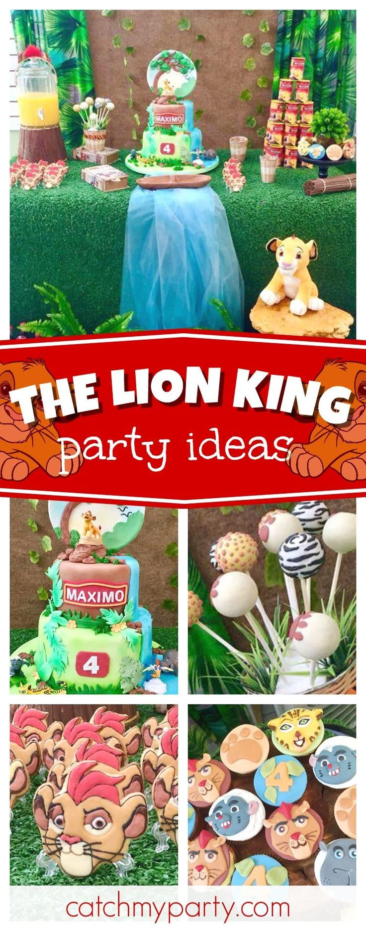 Check out this awesome Lion King birthday party ! The birthday cake is incredible!! See more party ideas and share yours at CatchMyParty.com #partyideas #catchmyparty #thelionking #safari #animals #lion