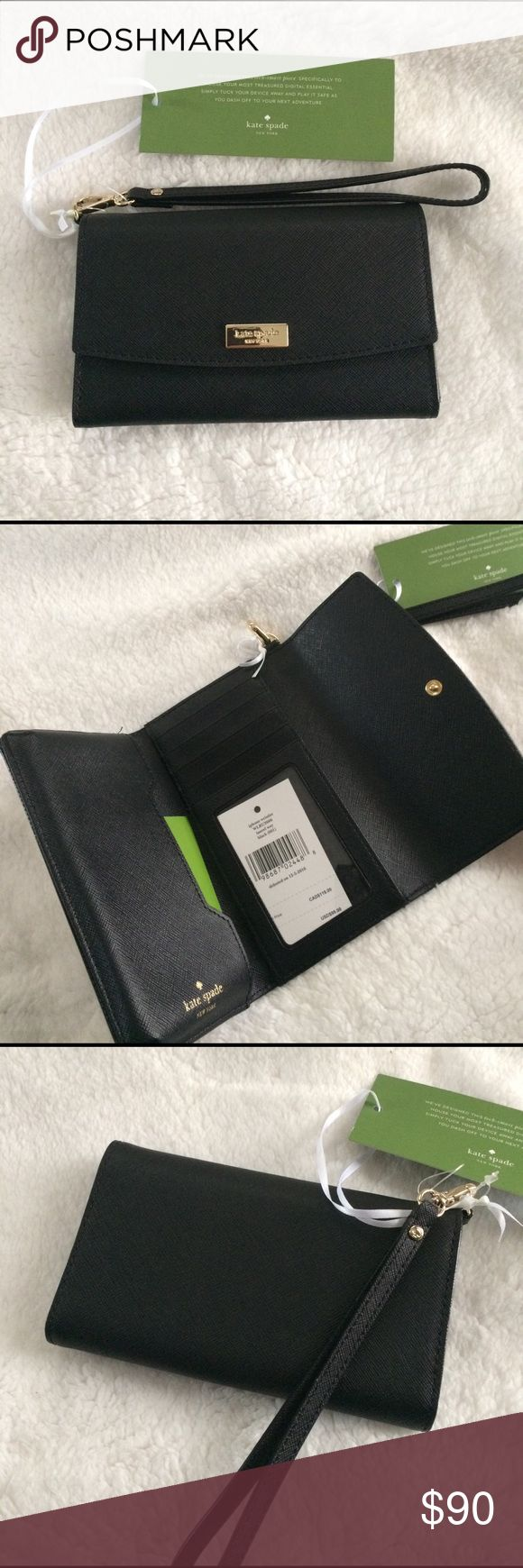 "Kate Spade iPhone Wristlet Kate Spade ""Laurel Way"" IPhone wristlet in black. Saffiano leather and gold detailing. Detachable strap. Phone storage, card slots for cash, credit cards, and ID. New with tags.   Fits iPhone 6/6S/7 and comparable sized cell phones. Size:6.25 (L) x 3.75 (H) x 1 (W) kate spade Bags Clutches & Wristlets"