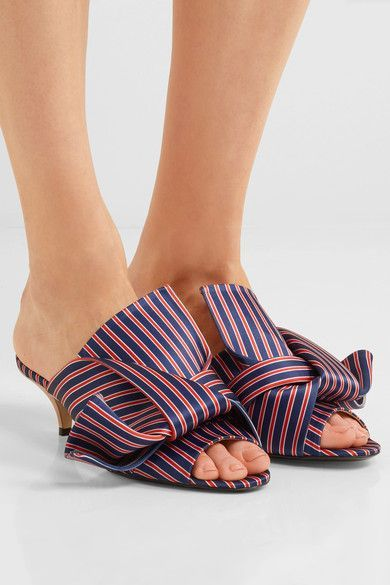 No. 21 - Knotted Striped Satin Mules - Blue - IT36.5