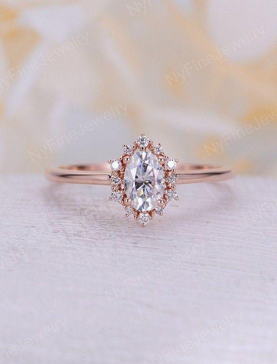 Vintage Verlobungsring Oval Moissanite Verlobungsring Rotgold Diamant Halo Hochzeit Schmuck Jubiläum Versprechen Tagesgeschenk für Frauen   – ring a ding ding