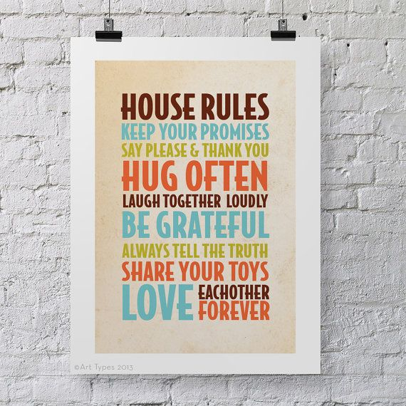 House Rules print children's A3 poster fun and by ArtTypes, $24.00