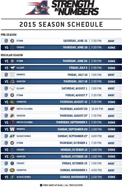 The 2015 season schedule is here!   Montreal Alouettes