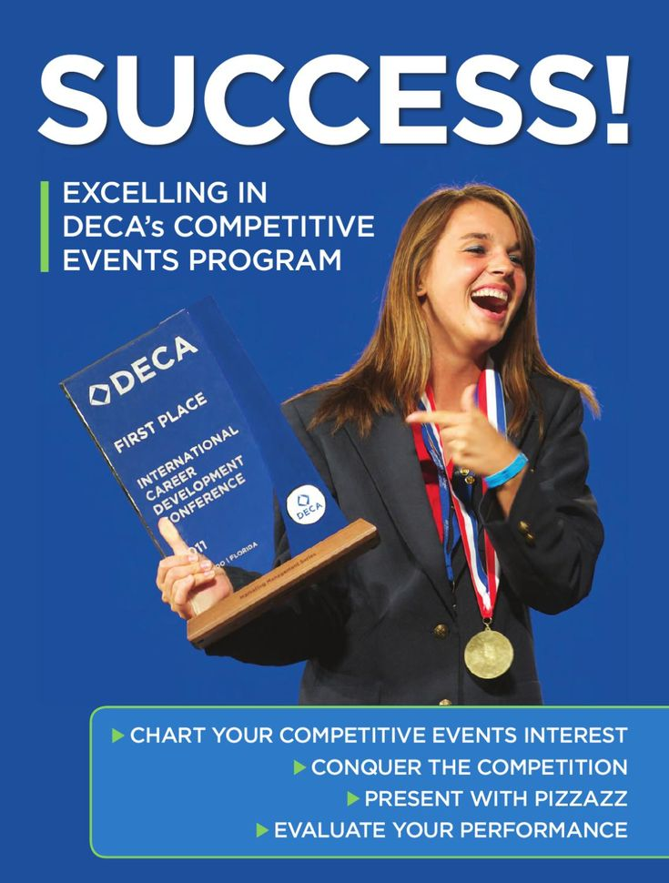 Success! Excelling in DECA's Competitive Events Program  Chart your competitive events interest. Conquer the competition. Present with pizzazz. Evaluate your performance.