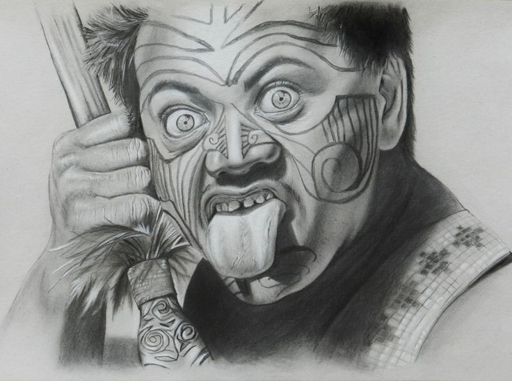 Zeichnung Neuseeland New Zealand Maori Haka pencil drawing - by Josephine Doege