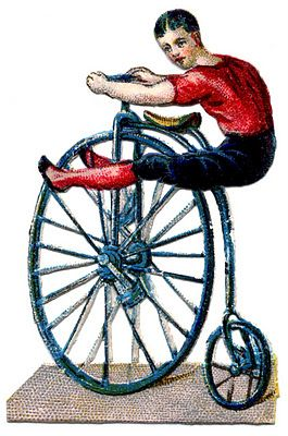 Circus Acrobat on Velocipede. Looks super-comfy. Even a porn star would have trouble holding that position.