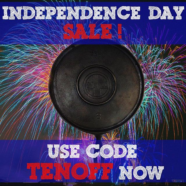 10% off orders over $100 at theprimitivepioneers.com ! Use code TENOFF now! Celebrate Independence Day with some antique cast iron cooking!