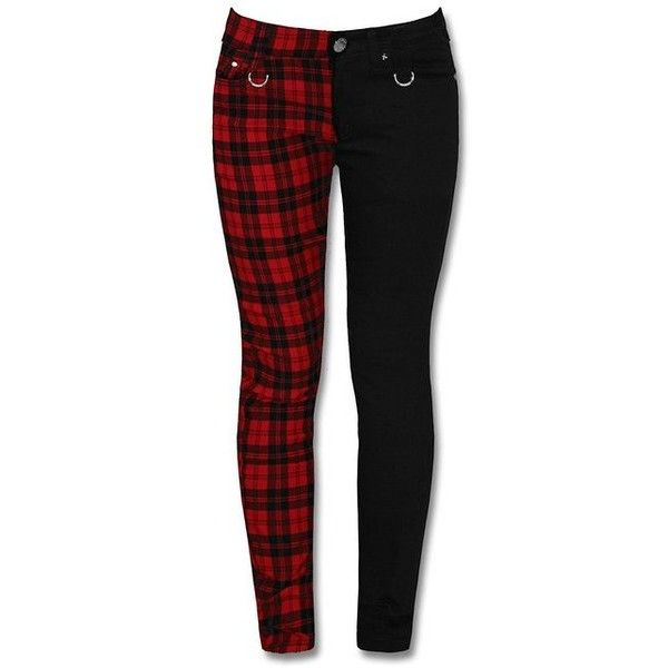 Banned Black Red Check Womens Skinny Jeans Split Leg Goth Punk Stretch... ($42) ❤ liked on Polyvore featuring jeans, pants, bottoms, black, stretchy jeans, denim skinny jeans, checkered skinny jeans, skinny leg jeans and skinny jeans