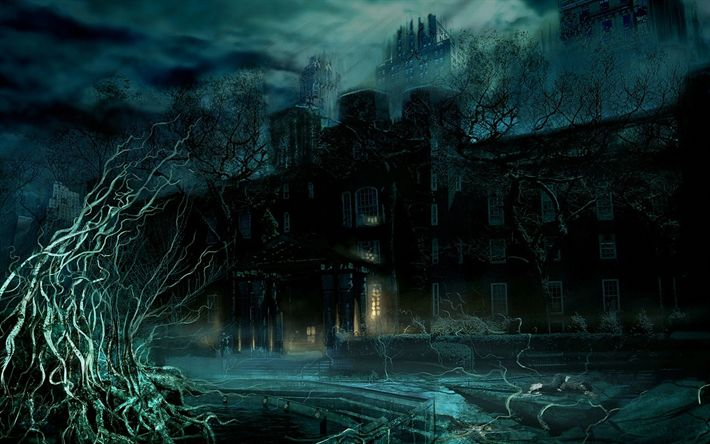 Scarica sfondi notte, città, oscurità, l'arte, la luna, horror