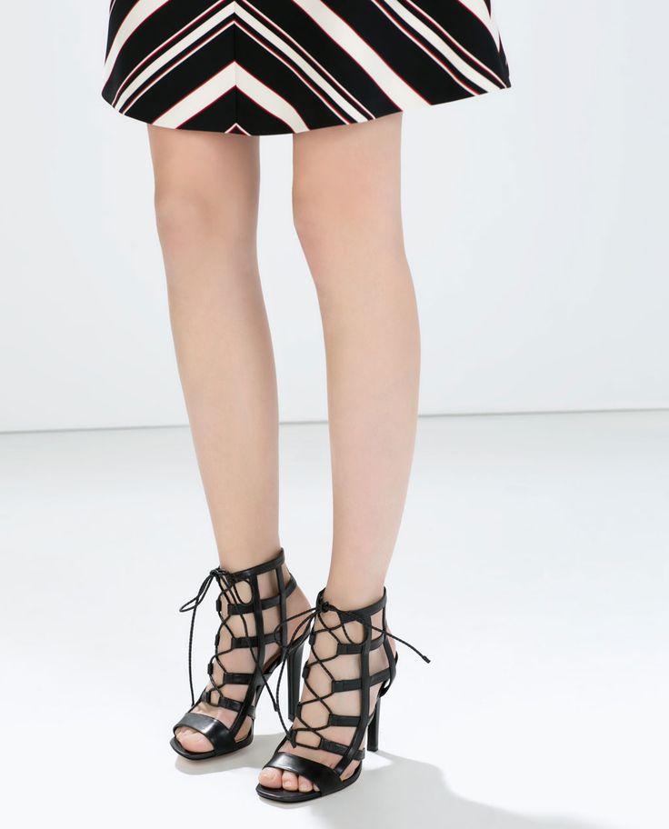 Leather Slingback High Heel Shoes Zara