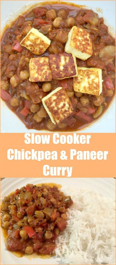 Slow cooker chickpea and paneer curry - a vegetarian curry dish topped with paneer curd cheese, great for vegetarian inspiration for meat free Mondays