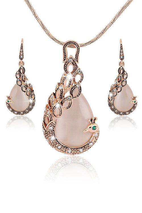 Elegant Peacock Necklace Earrings Click on picture to purchase!