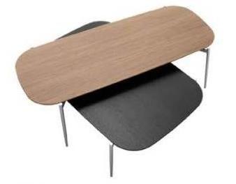 Coffee table , black-stained oak veneer/brushed steel.Coffee table ,walnut veneer/brushed steel