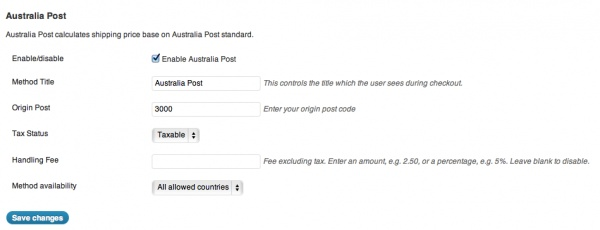 WooCommerce Australia Post Shipping Extension