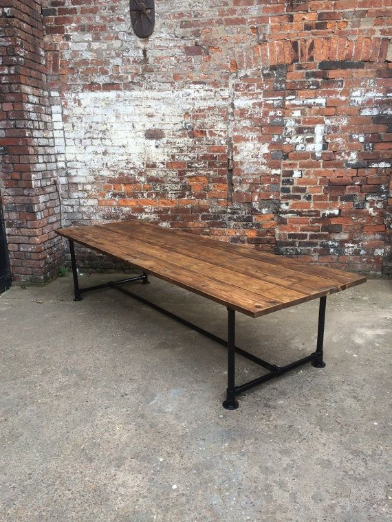 Reclaimed Industrial Chic Pipe 10-12 Seater Conference Office Table.Bar and Cafe Restaurant Furniture Steel and Wood Made to Measure,office