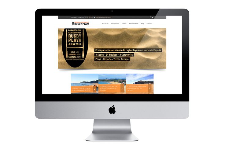 Diseño de site para el Circuito del Cantábrico de Rugby Playa, donde se recoge toda la información del evento, sedes, formulario de inscripción, galería de fotos, blog, redes sociales…