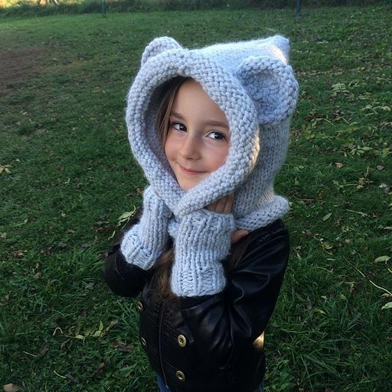 Capuche oreilles d'ours tricot