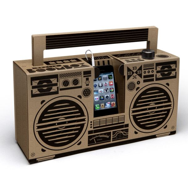 Berlin Boombox mobile cardboard speaker in brown