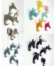 European Style Animal head Resin Coat Hook Retro Key Hat Bag Hanger Decorative Wall hooks Bar Home Decoration(China (Mainland))