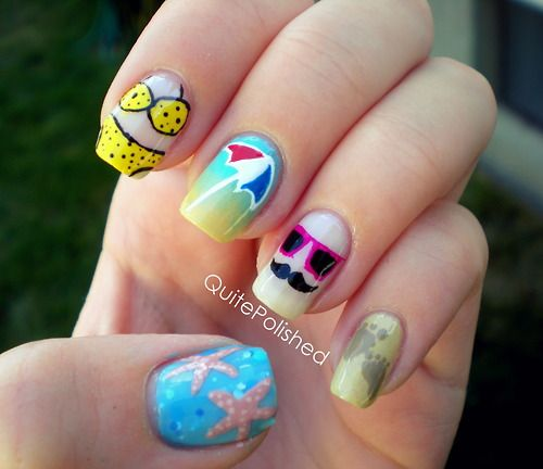 summer time nails: At The Beaches, Nailart, Beaches Nails, Summer Nails, Fun Facts, Nails Ideas, Beach Nails, Nails Art Design, Nails Designs