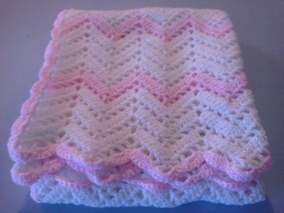Crocheted Baby Afghan in chevron pattern Crochet Pinterest