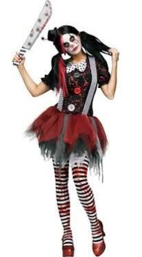 scary clown costumes women                              …