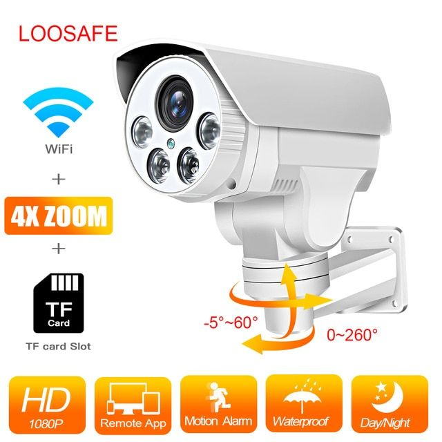 Loosafe Wifi Onvif Outdoor Bullet Camera Wireless Wired P2p Alarm Full Hd Home Security Camera Security Cameras For Home Home Security Systems Security Camera