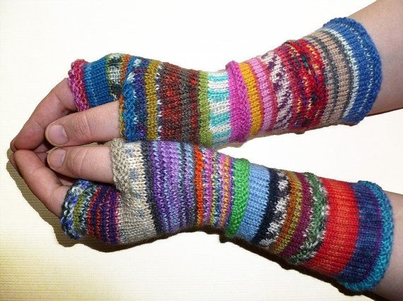 Knit Fingerless gloves  Arm warmers  Womens by handicraftland