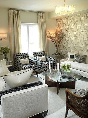 : Sarah Richardson, White Living, Sarah Houses, Chairs, Formal Living Rooms, Richardson Design, Furniture Placements, Sit Rooms, Accent Wall