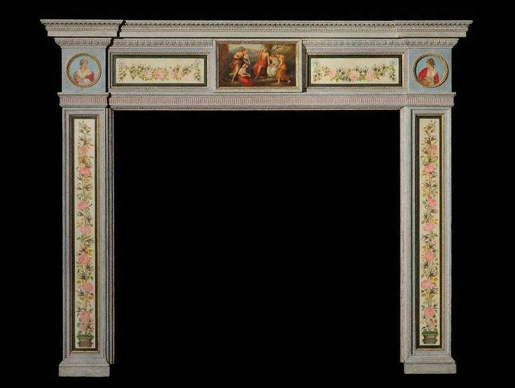English Hand-Painted Fireplace Mantel in the Neoclassical Style 1880