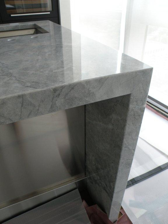 I love to design with mitred edges- the seams here are impossible to find! This kitchen was designed by Boston Designer Meichi Peng- Cumar Marble and  Granite & I completed the Design Dream -