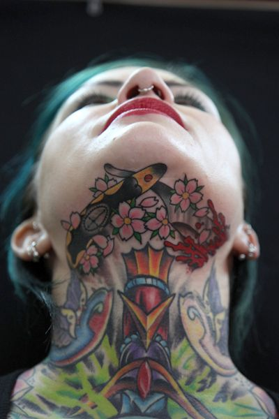 Jaw Line Tattoos: 118 Best Images About Throat Tattoos On Pinterest