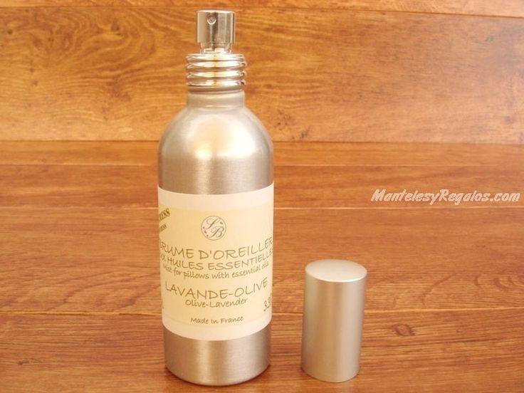 Spray Ambientador Almohadas de LAVANDA-OLIVA - 100 ml. Elaborado con aceites esenciales para disfrutar de un sueño relajante. Presentación en envase de aluminio de 100 ml. con vaporizador.