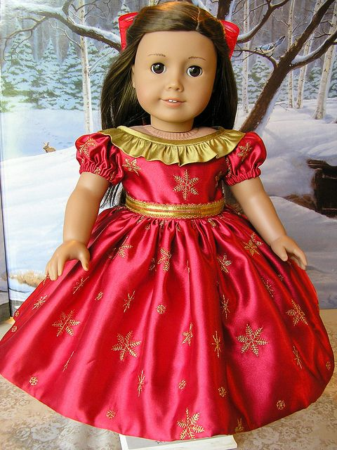 Red and gold American Girl Doll Dress