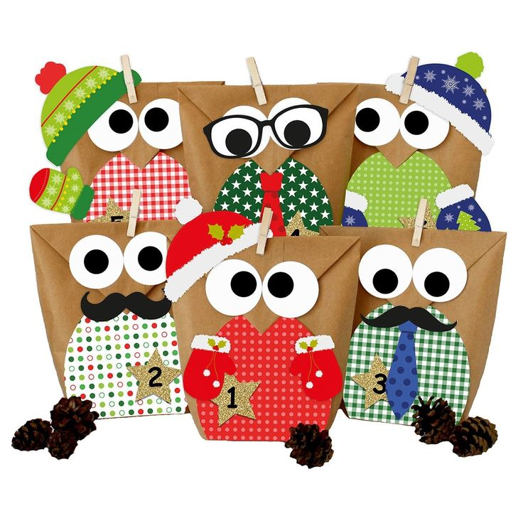 DIY Advent Calendar – Christmas Owls red with Additional Stickers – Advent Calendar for Making and Filling – Red Set With Additional Decoration – CN12ID168W3