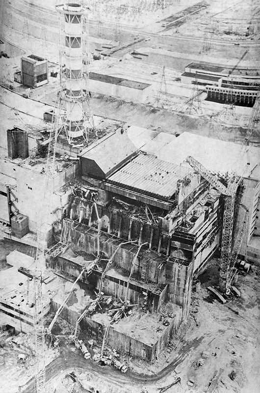 """Chernobyl 1986 - the Chernobyl nuclear power plant in Ukraine (formerly part of the Soviet Union) exploded, creating what has been described as the worst nuclear disaster the world has ever seen. """"The photo is made from helicopter on May 3, 1986."""