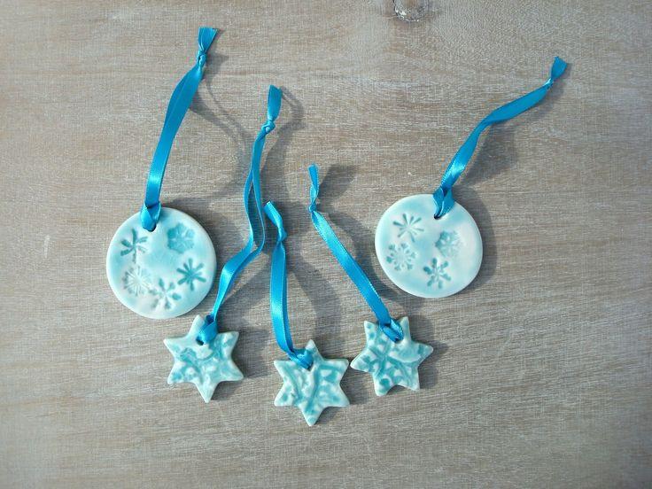 Décorations turquoise pour sapin de Noël, décorations turquoise en céramique : Accessoires de maison par oerine