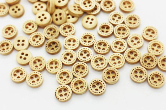 Mini Wood Buttons Line Edge Button Tiny Button Children